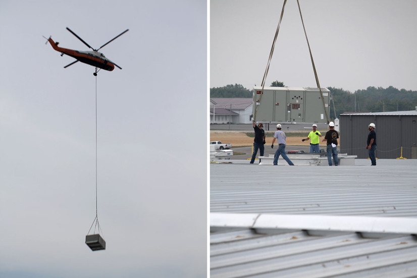 Helicopter delivery of HVAC system