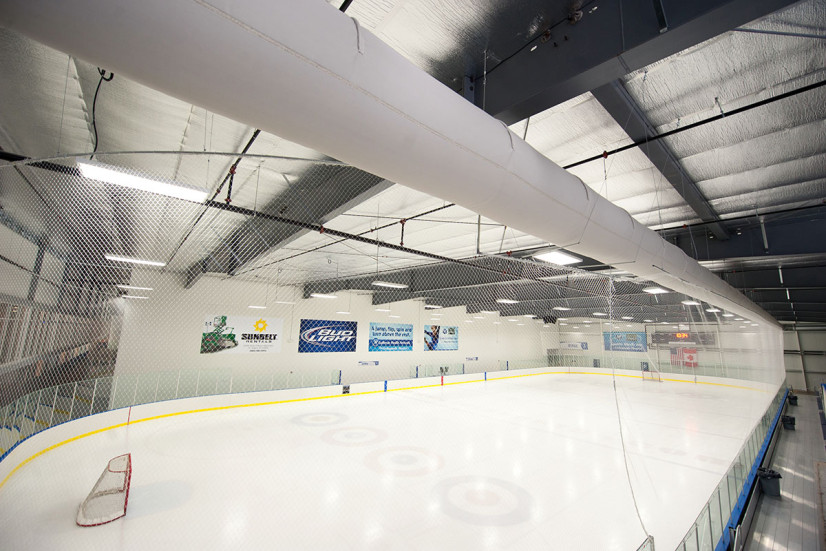 Ice rink with HVAC ductwork
