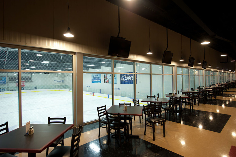 View overlooking commercial ice rink