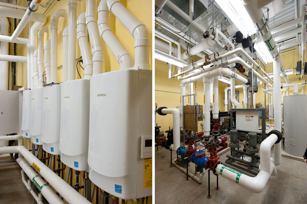 Mechanical room with piping systems