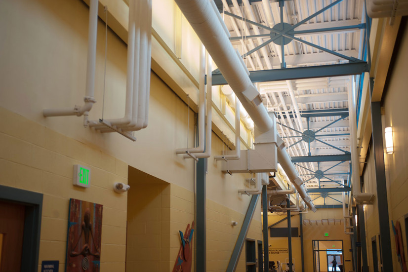 Facility with HVAC ductwork and mechanical systems