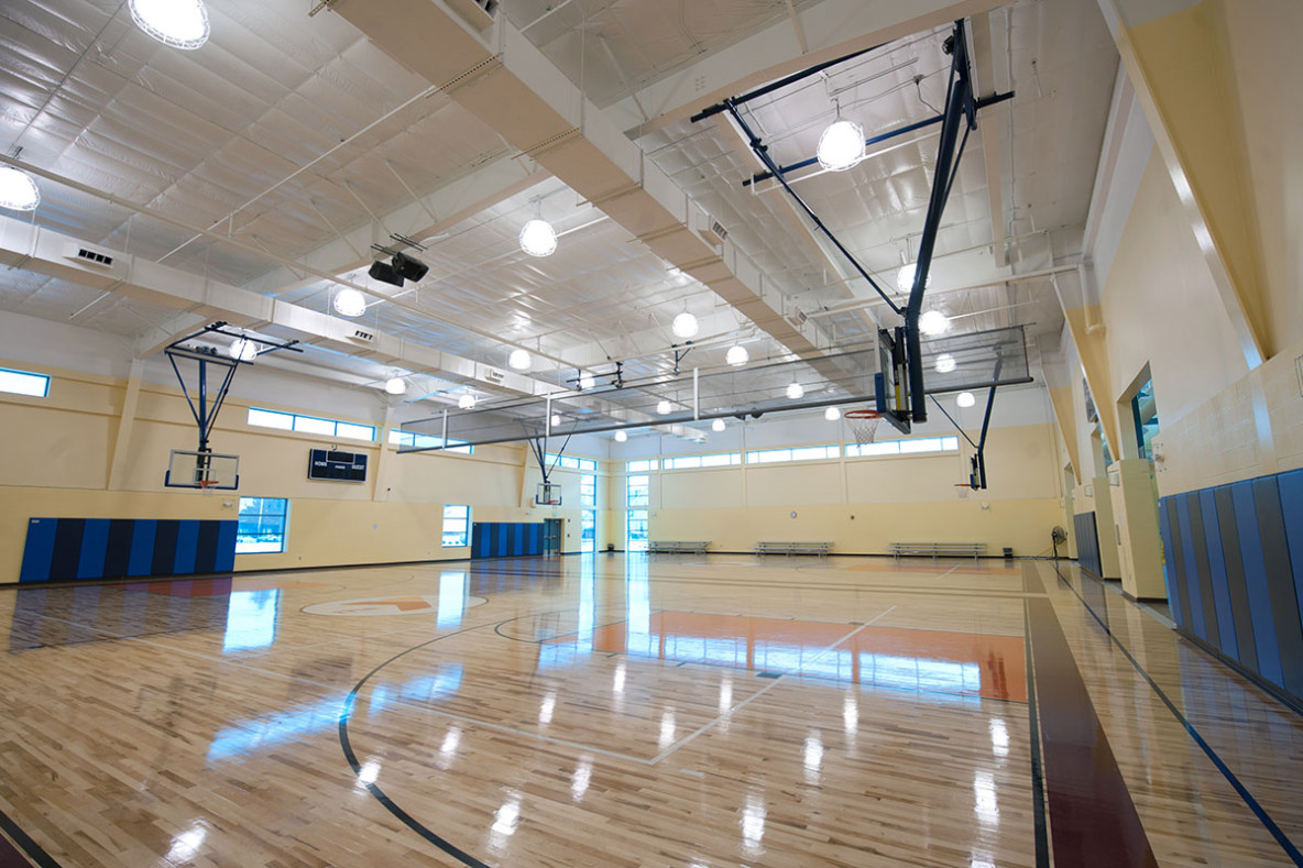 Commercial size basketball facility with HVAC system